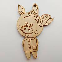Новорічна дерев'яна ялинкова іграшка заготовка Свинка з бантиком, фото 1