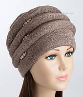 Теплая зимняя шапка Каприз коричневого цвета