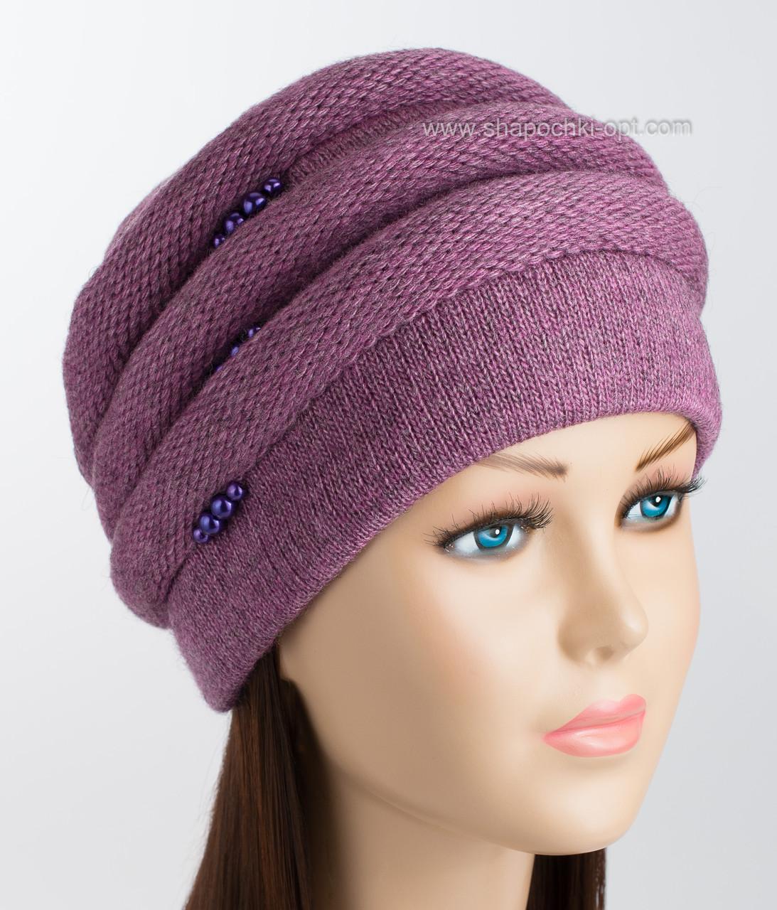 красивая вязаная шапка каприз цвет слива продажа цена в одессе