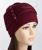 Двойная вязаная шапка Мила бордового цвета