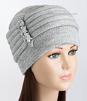 Теплая женская шапка Мила светло-серого цвета