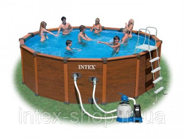 Каркасные бассейны Intex 54968 Sequoia Spirit Wood-Grain Frame Pool (569x135см)