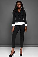 Модный Брючный Костюм с Имитацией Рубашки Черный S-XL , фото 1