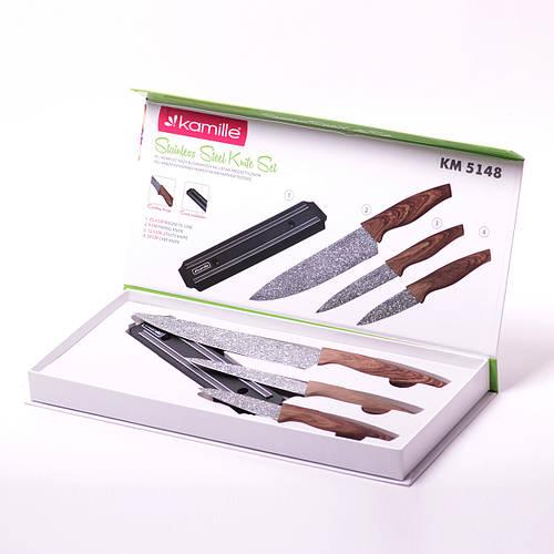 Набор кухонных ножей на магнитной полоске 4 предмета (3 ножа+держатель)