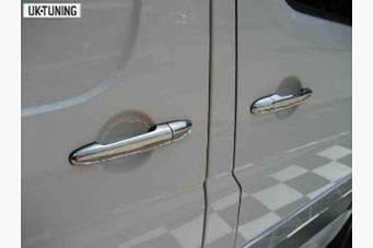 Хромированные накладки на ручки (4 шт, нержавейка) Тюнинг Mercedes Sprinter W906 2006+ гг.
