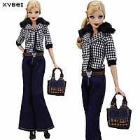 Комплект одежды модная куртка и джинсы для куклы 25 - 30 см
