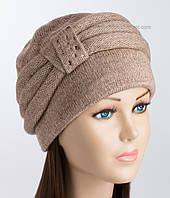 Вязаная женская шапка Марта темно-бежевого цвета