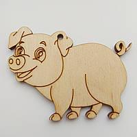 Новогодняя деревянная елочная игрушка заготовка Свинка_четыре лапки
