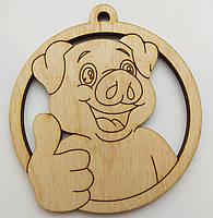 Новогодняя деревянная елочная игрушка заготовка Свинка класс_круг, фото 1