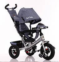 Велосипед детский трехколесный, надувные колеса+фара Бест Трайк 6588B серый, Best Trike