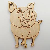 Новогодняя деревянная елочная игрушка заготовка Свинка острые ушки