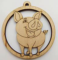 Новогодняя деревянная елочная игрушка заготовка Свинка острые ушки_круг