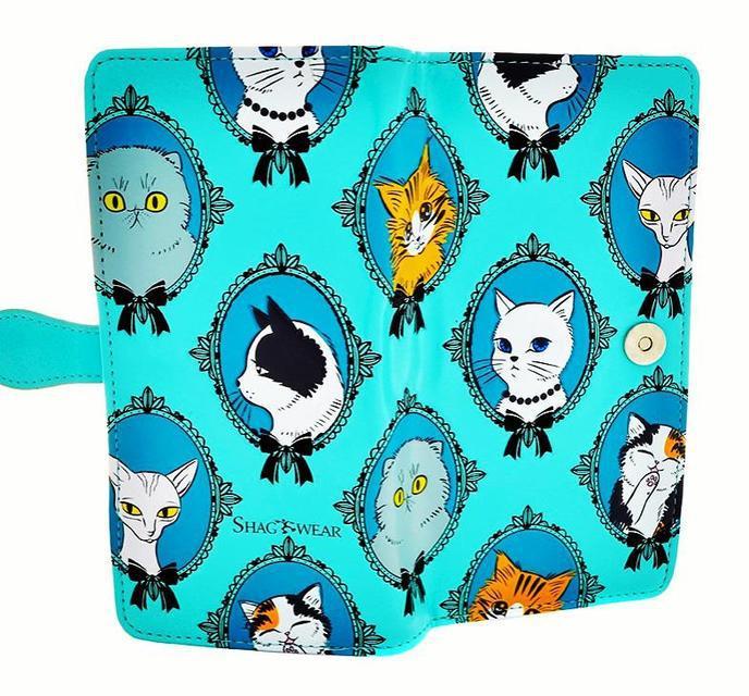 Женский кошелек с рельефным принтом «коты в раме»