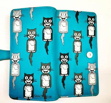 Женский кошелек с рельефным принтом «коты-часы», фото 2