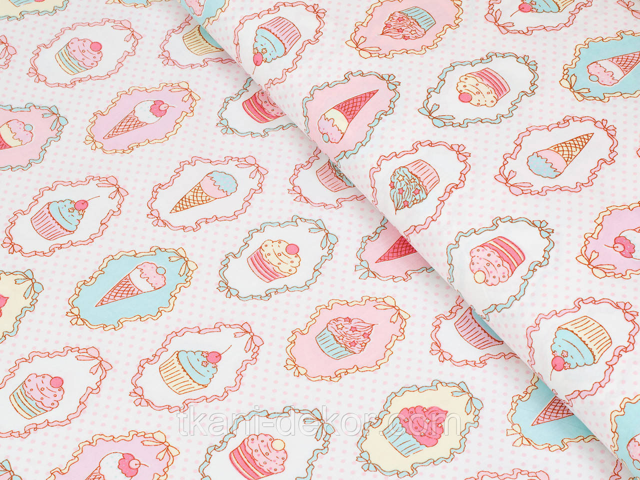 Сатин (хлопковая ткань) пироженки с рюшами