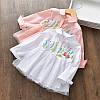 Стильна сорочка для дівчинки, біла і рожева