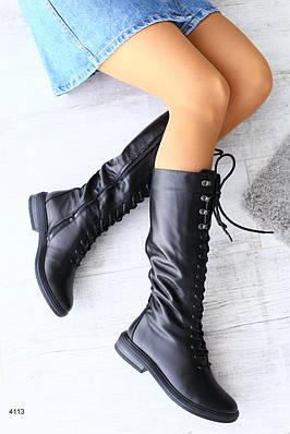 Женские демисезонные кожаные сапоги  на шнуровке