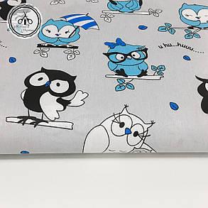 """Польская хлопковая ткань """"совы черно-голубые на сером"""", фото 2"""