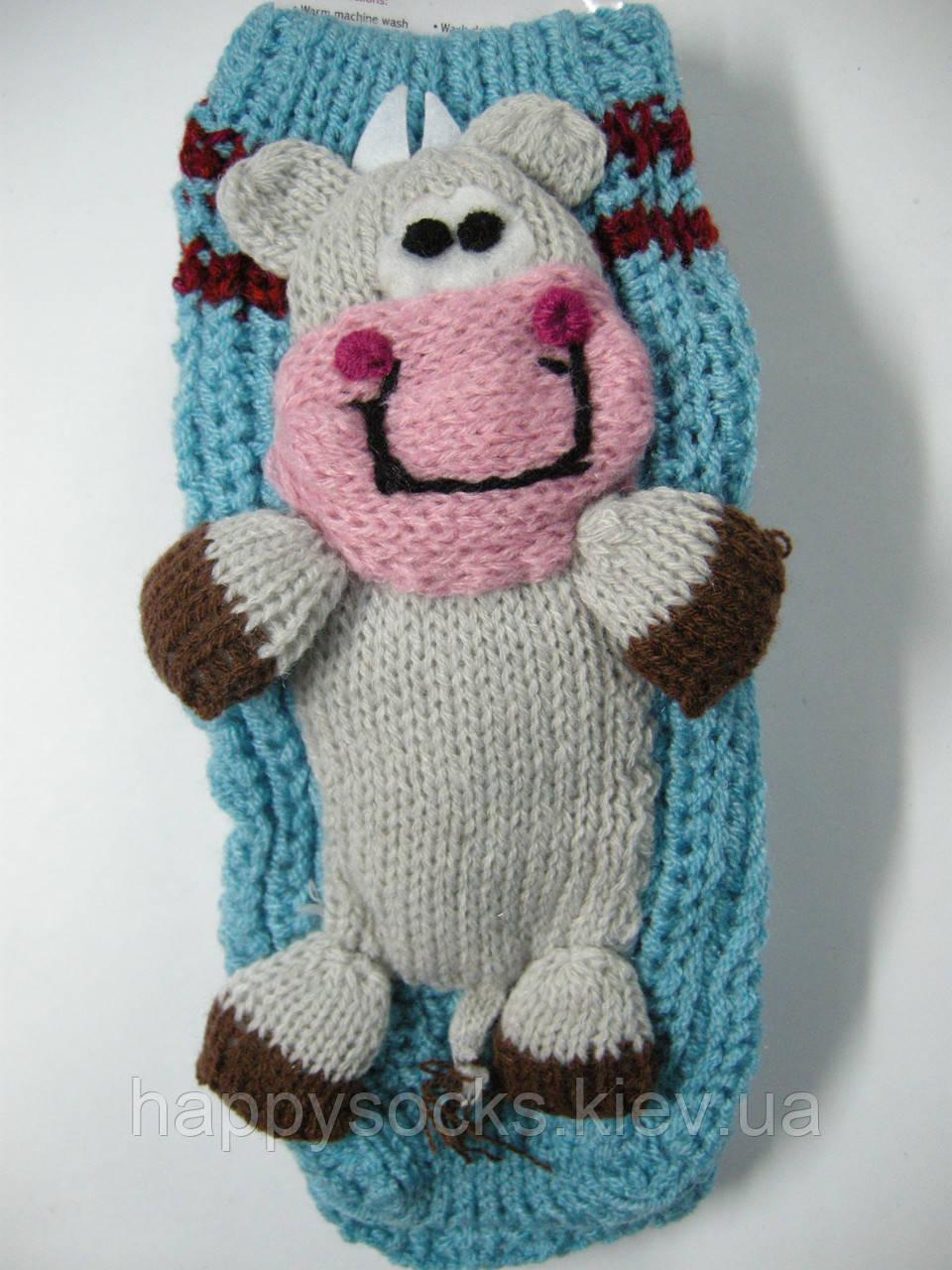 Носки домашние вязанные детские с 3-Д игрушкой