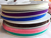 Тесьма бархатная(велюровая), ширина 1 см, моток 20 м, цвета в ассортименте