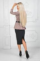 """Деловой женский костюм-двойка """"SOLEY"""" с поясом и баской (2 цвета), фото 3"""
