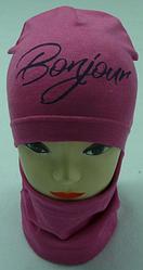 """Яскрава шапка трикотажна+хомут на дівчинку """"BONJOUR"""" 3-8 років, різні кольори"""