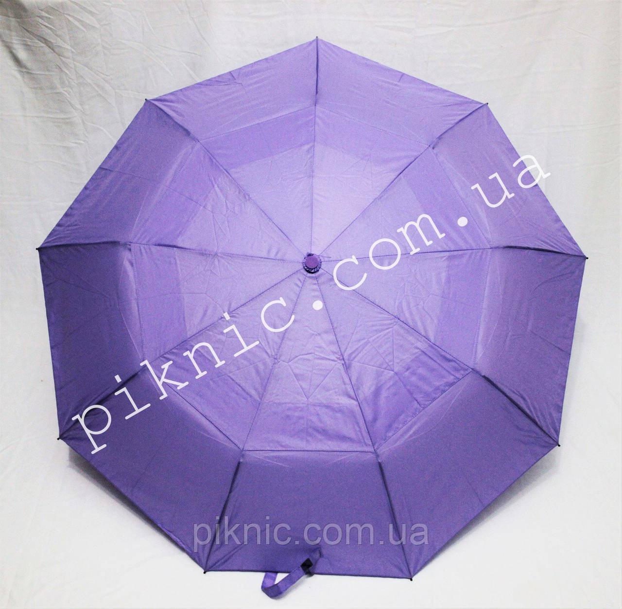 Женский зонт складной с ветровым клапаном полуавтомат. Зонтик от дождя. Сиреневый