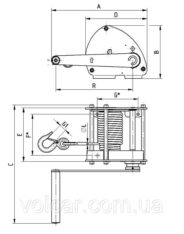 Схема ручной лебедки Brano