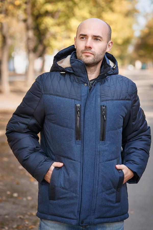 Зимняя куртка парка мужская молодежная 46-68 синий