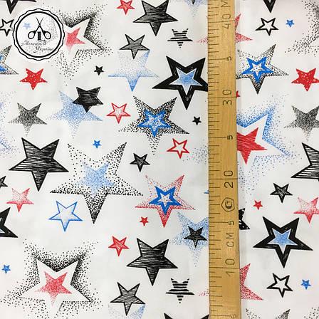 """Фланель """"звездопад черный, белый, красный на белом"""", фото 2"""