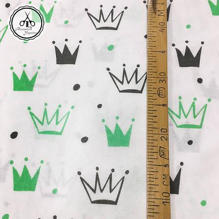 """Фланель """"короны черно-зеленые на белом"""", фото 2"""
