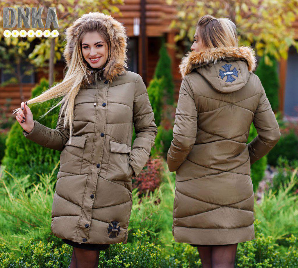 Пальто зимнее на капюшоне мех енот наполнитель холлофайбер 200 размер:42-44,44-46,4-48,50-52,52-54
