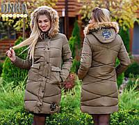 Пальто зимнее на капюшоне мех енот наполнитель холлофайбер 200 размер:42-44,44-46,4-48,50-52,52-54, фото 1