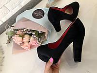 """Туфли """"LM"""" широкий каблук 11см-3 см, экозамш код 5968, фото 1"""