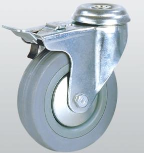 Аппаратное колесо поворотное с отверстием и тормозом 3006-S-075-P