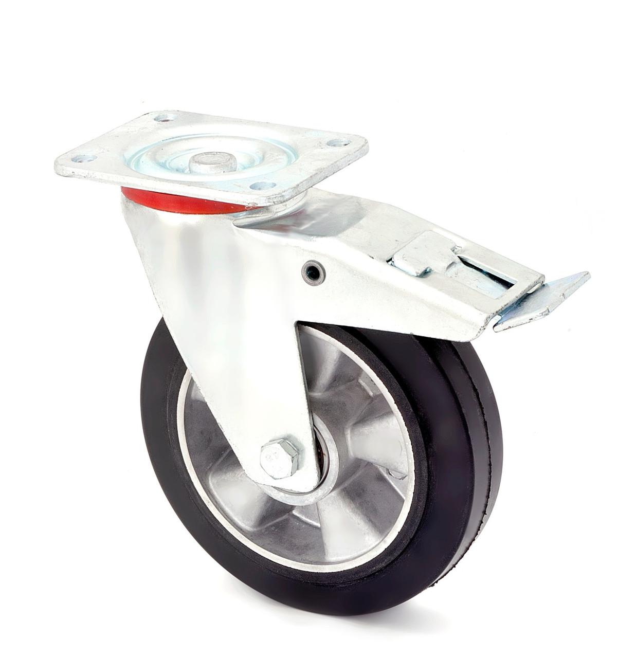 Колесо поворотное с тормозом серия 17 STANDART 1704-ST-080-B