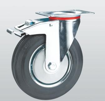 Колесо поворотное с крепежной панелью и тормозом 1004-E-125-R