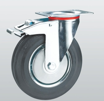 Колесо поворотное с крепежной панелью и тормозом 1004-E-160-R