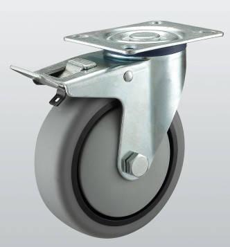 Колесо поворотное с крепежной панелью и тормозом 3204-ST-160-R