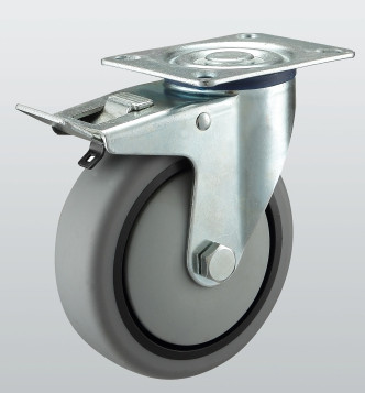 Колесо поворотное с крепежной панелью и тормозом 3204-ST-080-R