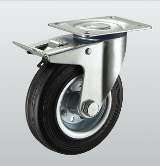 Колесо поворотное с крепёжной панелью и тормозом 1104-ST-160-R