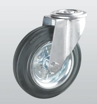 Колеса поворотные с отверстием из черной резины 1105-ST-125-R