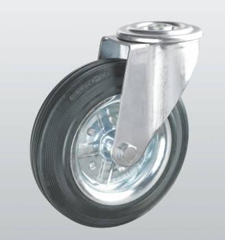 Колеса поворотные с отверстием из черной резины 1105-ST-160-R