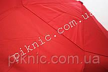 Женский зонт складной с ветровым клапаном полуавтомат. Зонтик от дождя. Алый, фото 2