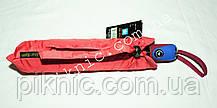 Женский зонт складной с ветровым клапаном полуавтомат. Зонтик от дождя. Алый, фото 3