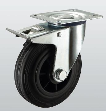 Колесо поворотное с крепежной панелью и тормозом PROFI 1204-PF-160-P