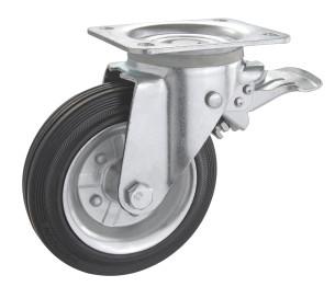 Колесо поворотное PROFI с крепёжной панельюи тормозом 1404-PF-160-R