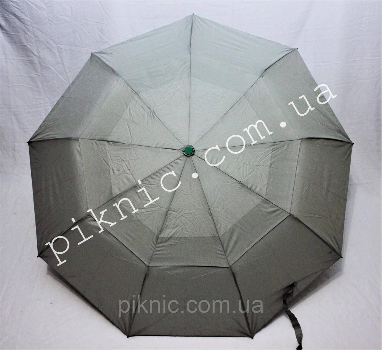 Женский зонт складной с ветровым клапаном полуавтомат. Зонтик от дождя. Серый