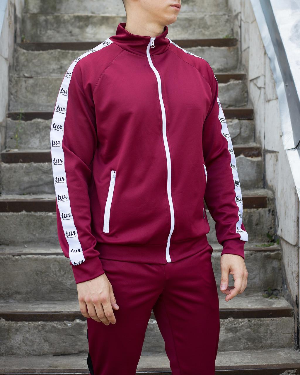 Мастерка олимпийка мужская бордовая бренд ТУР модель Смоук (Smoke) размер XS, S, M, L, XL