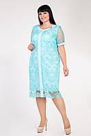 Торжественное платье с вышитым кружевом в мятном цвете